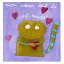 Mon coeur bat la chat-made !  15 x 15 cm