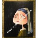 La jeune fille à la perle - 50x 65 cm - Acrylique sur toile