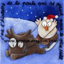 C'est l'histoire de la poule qui se prend pour le père Noël - 24x24 cm - Acrylique sur papier